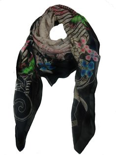 Modern Love Silk Georgette Scarf in Vine