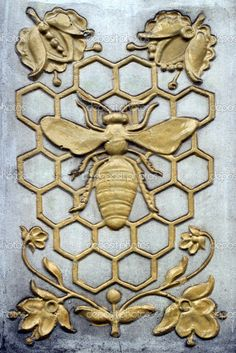 Decorative bas-relief with bee for background