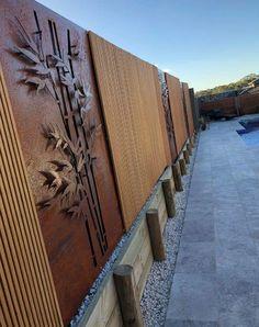 Bamboo Screen by Ironbark Metal Design Garden Fence Art, Garden Fence Panels, Backyard Fences, Garden Gates, Backyard Landscaping, Privacy Fence Designs, Pergola Designs, Privacy Screen Outdoor, Privacy Screens