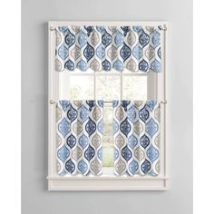 Better Homes and Gardens Damask Ogee Kitchen Curtains, Set of 2 - Walmart.com