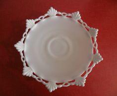 Westmoreland Ring and Petal milk glass pedestal Cake Plate