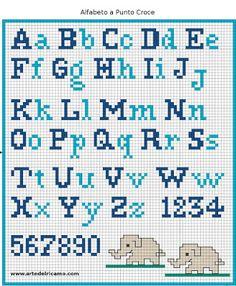 Mi Rincón De Manualidades: ABECEDARIO EN PUNTO CRUZ Crochet Alphabet, Alphabet Charts, Alphabet Letters, Cross Stitch Needles, Cross Stitch Charts, Cross Stitch Designs, Stitch Patterns, Cross Stitching, Cross Stitch Embroidery