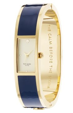 kate spade new york 'carousel' bangle watch in navy and gold - love this