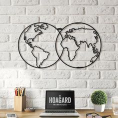 Metal Wall Art - World Map Cluster - Weltkarte - Mappa Del Mondo - World Map - Interior Decoration - Travel - Best Gifts, Home Accessories, Original metal decorative item designed by HOAGARD. -Painted black paint -metal thick x / x kg / Ib -Dimension. Elegant Home Decor, Unique Home Decor, Home Decor Items, Home Decor Accessories, World Map Wall Decor, Travel Wall Decor, World Map Wall Art, World Maps, World Map Painting