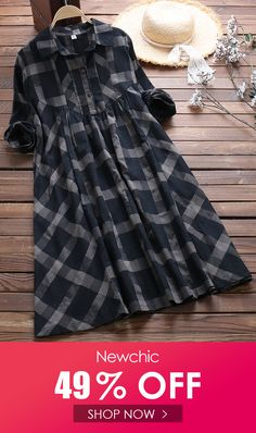 Irregular Plaid Print Long Sleeve Loose Vintage Dress is high-quality, see other cheap summer dresses on NewChic. Vintage Long Dress, Vintage Formal Dresses, Vintage Inspired Dresses, Vintage Gowns, Vintage Outfits, Vintage Fashion, Cheap Summer Dresses, Sweet Dress, Chic Dress
