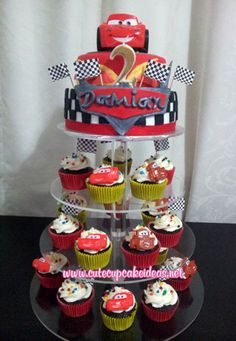 Cars Cupcake Tower.. really great blog with lots of great cupcaking tips