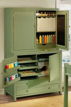 Find an old tv stand, paint it, better than shelves and more organized! put shelves in closet