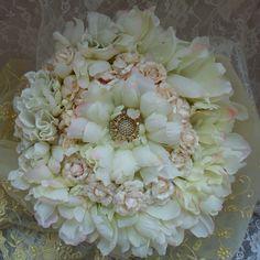 Flower Head Piece with pale yellow veil, Blush Blossoms n ivory petals, vintage couture, Victorian Noir bridal head piece,