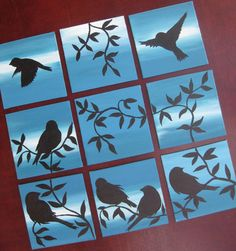 9 birds sparrows canvases canvas paintings set bird tiny small nine painting teal blue trees set modern abstract art design in any color Canvas Wall Collage, Multi Canvas Painting, Canvas Painting Projects, Small Canvas Art, Painting Collage, Diy Canvas Art, Small Art, Group Art Projects, Small Paintings