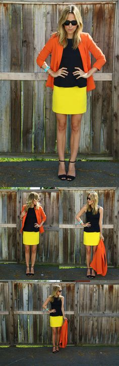 Color Blocking with Bauble Bar's Turqoise Cuff & H Orange Jacket and Yellow Skirt #baublebar
