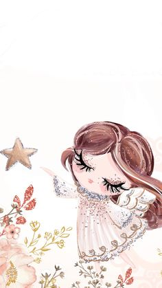❣︎∣ᴮᵞᵛᴵ·⁴·ᵞᴼᵁ∣❣︎ Angel Wallpaper, Gold Wallpaper, Pattern Wallpaper, Wallpaper Backgrounds, Colorful Drawings, Cute Drawings, Unicorn Pictures, Baby Posters, Cute Girl Drawing