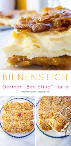 """This authentic German """"Bee Sting"""" cake recipe is one of my all time favorites! It's an easy traditional cake to make. You'll love the honey almond topping and the creamy pastry cream filling! Traditional German Desserts, Traditional Cakes, Bienenstich Cake, Easy Desserts, Delicious Desserts, Custard Desserts, Elegant Desserts, Beautiful Desserts, German Bee Sting Cake"""