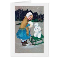 girl and snowan  retro card - christmas cards merry xmas diy cyo greetings