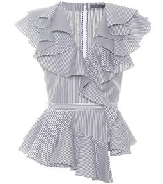 Shop Ruffled poplin top presented at one of the world's leading online stores for luxury fashion. Diy Fashion, Ideias Fashion, Fashion Dresses, Fashion Tips, Fashion Design, Luxury Fashion, Mode Bcbg, Frill Tops, Casual Elegance