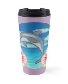 Dolphin Paradise Travel Mug by thekohakudragon #dolphin #beach #ocean #summer #flowers