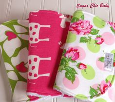 Baby Girl Burp Cloths    Triple Layer Chenille  by SugarChicBaby, $24.00