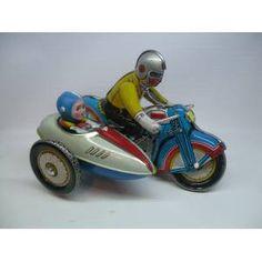 Teneke Oyuncak,Eski Çin Motorsiklet,sepetli Old Toys, Old Fashioned Toys