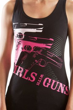 NEW - GWG Pistol Tank: Black and Pink  We are the first dealer in Texas to carry Girls with Guns apparel. Stylish women's clothing with a shooter's and hunter's flair.