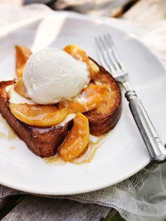 Toast, roasted peaches, ice-cream, and honey maple syrup