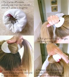 To Try: No Heat Waves -- 1. Cut toe off of mid-calf sized sock & roll like doughnut 2. Pull hair through like pony tail 3. Take hair around outside & pull though center until all hair is wrapped 4. Bobby pin tail of hair & let sit overnight