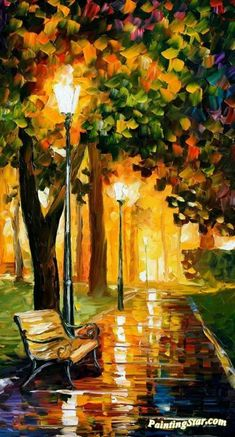 Park lights Artwork by Leonid Afremov Hand-painted and Art Prints on canvas for sale,you can custom the size and frame