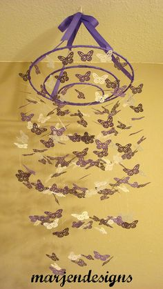purple paper monarch butterfly mobilebaby girl by marjendesigns, $55.00
