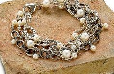 Chained pearls bracelet.
