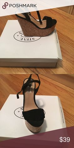Steve Madden wedges 5 inch cork wedge with black suede upper! Good condition! Steve Madden Shoes Wedges