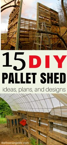 15 Pallet Shed Ideas! Do you need a livestock barn or storage shed? Try out some of these amazing DIY Pallet Shed, Barn, and Building Ideas that use free pallet wood as a base!