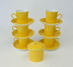 Mod Yellow Coffee Cups & Saucers, Sugar Bowl: New Zealand's Crown Lynn Forma Yellow Bowls, Yellow Cups, Lemon Yellow, Coffee Cups And Saucers, Cup And Saucer, Tea Cups, Yellow Coffee Cups, Vintage Cups, Vintage China