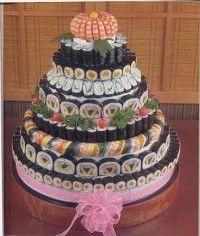 cake made of sushi