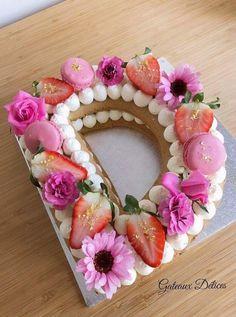 Lovely fruity birthday cookie cake for beloved ones with name D. Lovely fruity birthday cookie cake for beloved ones with name D. Fancy Cakes, Cute Cakes, Pretty Cakes, Beautiful Cakes, Birthday Cake Cookies, Number One Cake, Number Cakes, Alphabet Cake, Cake Lettering