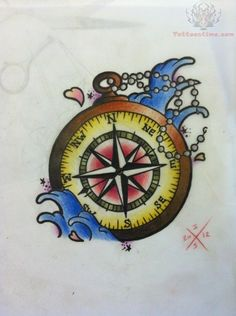 This compass rose and waves.  Add some blue in the compass and a few more waves