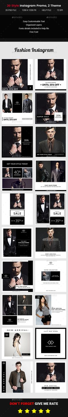 20 Instagram Fashion Promo — Photoshop PSD #special day sale #weekend sale • Available here → https://graphicriver.net/item/20-instagram-fashion-promo/19489720?ref=pxcr