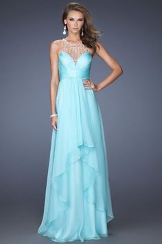 2014 Beaded Scoop Neckline Prom Dress Deep V Back Ruffled Bodcie And Waistband With Layered Chiffon Skirt for sale