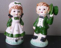 Vintage St . Patrick's Day Salt and Pepper Shakers --Irish Girl & Boy