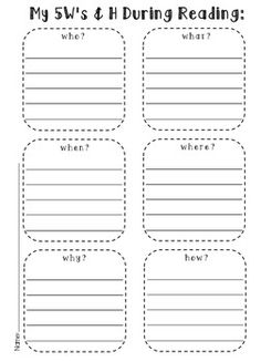 5 W's and how for reading worksheet
