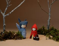 Red and Wolf peg dolls http://annabranford.com