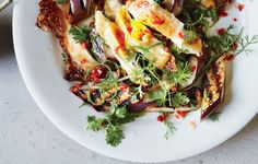 Grilled Eggplant with Fresh Hot Sauce and Crispy Eggs - When you put an egg on eggplant, you get a veg main course.