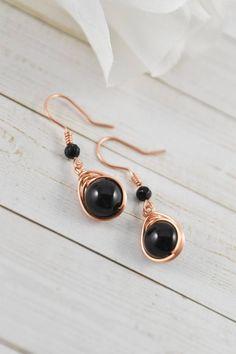 Black Jewelry, Black Earrings, Simple Earrings, Copper Earrings, Trendy Jewelry, Gemstone Earrings, Dangle Earrings, Handmade Bracelets, Handmade Jewelry