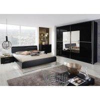 Schlafzimmer mit Bett 180 x 200 cm schwarz/ Spiegel Woody 127-00030