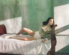 "The Terrier and Lobster: ""Ritratti di Nuovo Stile"": Mariacarla Boscono in Edward Hopper's Morning Sun by Javier Vallhonrat for Flair"