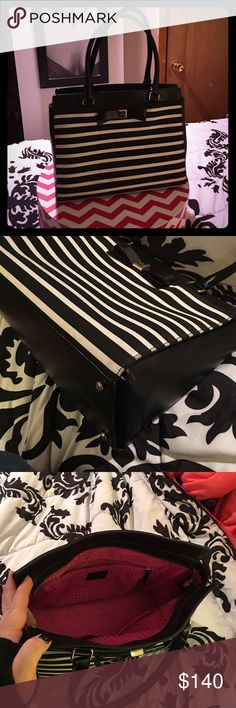 Kate Spade Handbag Classic black and white stripe with iconic Kate Spade bow. Gently used. Slight signs of wear, including small scuff on bottom and right corner (as seen in photos). kate spade Bags Shoulder Bags