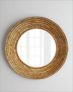 Regina Andrew Gold Leafed Round Petal Mirror: Regina-Andrew Design Round Mirror.Mixed textures keep thing interesting as this dramatic mirror proves. It features a framed comprising myriad texture petals and an inner twisted rope border. The result is nothing short of spectacular.    Handcrafted of metal and mirrored glass.    32