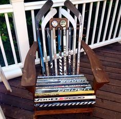 A great gift idea for a hockey player or hockey lover- a chair made out of hockey sticks! #giftideas #hockey #present