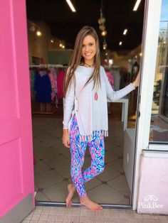 Lilly Pulitzer Luxletic Leggings Shake it Up $98 Ramona Sweater $138  #yeahthatgreenville @pinkbee @annacourtland