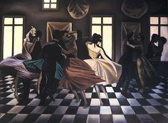 NADA AKL. LE BAL PERDU, 1985. Huile sur toile (oil on canvas), 100x130 cm.