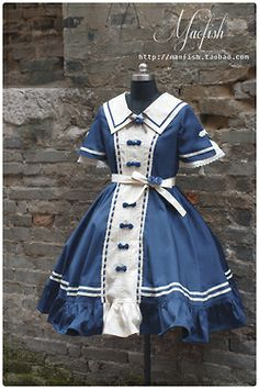 Qi Lolita Sailor OP in Blue~ Maofish