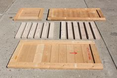 cabinets made out of wood pallets | Our crate and pallet board pieces after disassembling a pallet and a ...