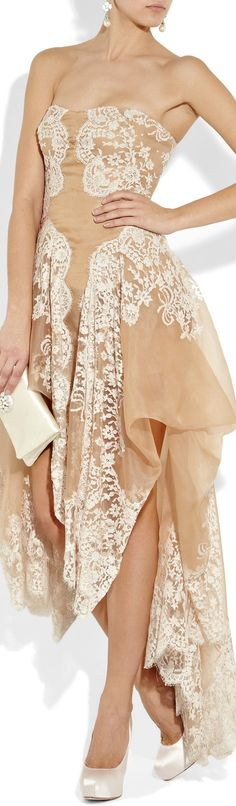 Alexander McQueen Lace and organza strapless gown  in nude
